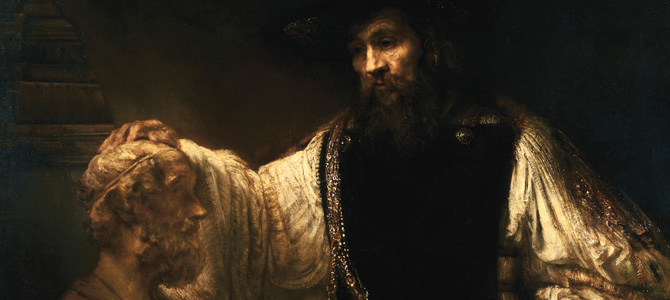 Philosophical contemplation: Aristotle with a Bust of Homer by Rembrandt van Rijn, 1653. Geoffrey Clements/CORBIS