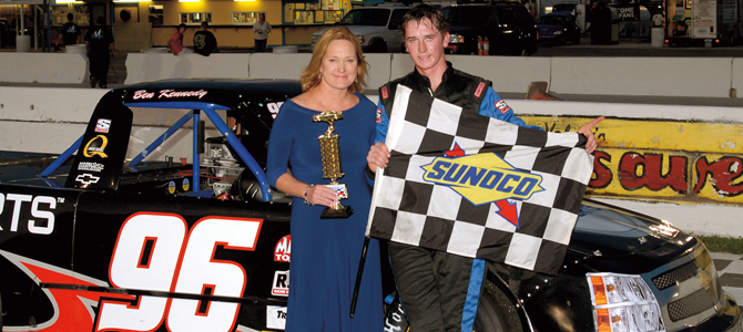 All in the family: France Kennedy with her son, Ben, after one of his victories at New Smyrna Speedway in Florida. Courtesy ISC