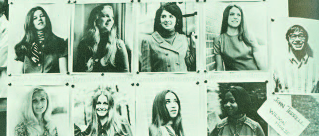 What's the buzz? Slate of candidates for 1970 Homecoming Queen, including John Terrell, far right. Duke University Archives