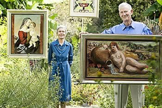 Garden art: Nancy and Craufurd Goodwin at their Hillsborough estate, with art by Duncan Grant from their personal collection, including Madonna and Child, Design for a Firescreen, and Psyche with Water from the River Styx. Steve Exum