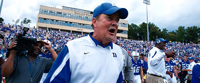 Bring it on: Cutcliffe savors a decisive Blue Devil win over Virginia in 2008, breaking Duke's twenty-five-game losing streak in the ACC. Jon Gardiner