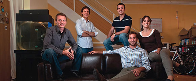 Creative ventures: Alex Andon, Ben Zulauf, Breck Yunits, Andrew Kitchell, and Erin Kitchell, from left, in their apartment-cum-business center. Credit: Peter DaSilva