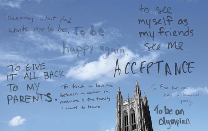 In their own words: Samples of notes from a student-led initiative, which invited members of the campus community to share anonymously their fears and dreams in an effort to encourage emotional honesty.