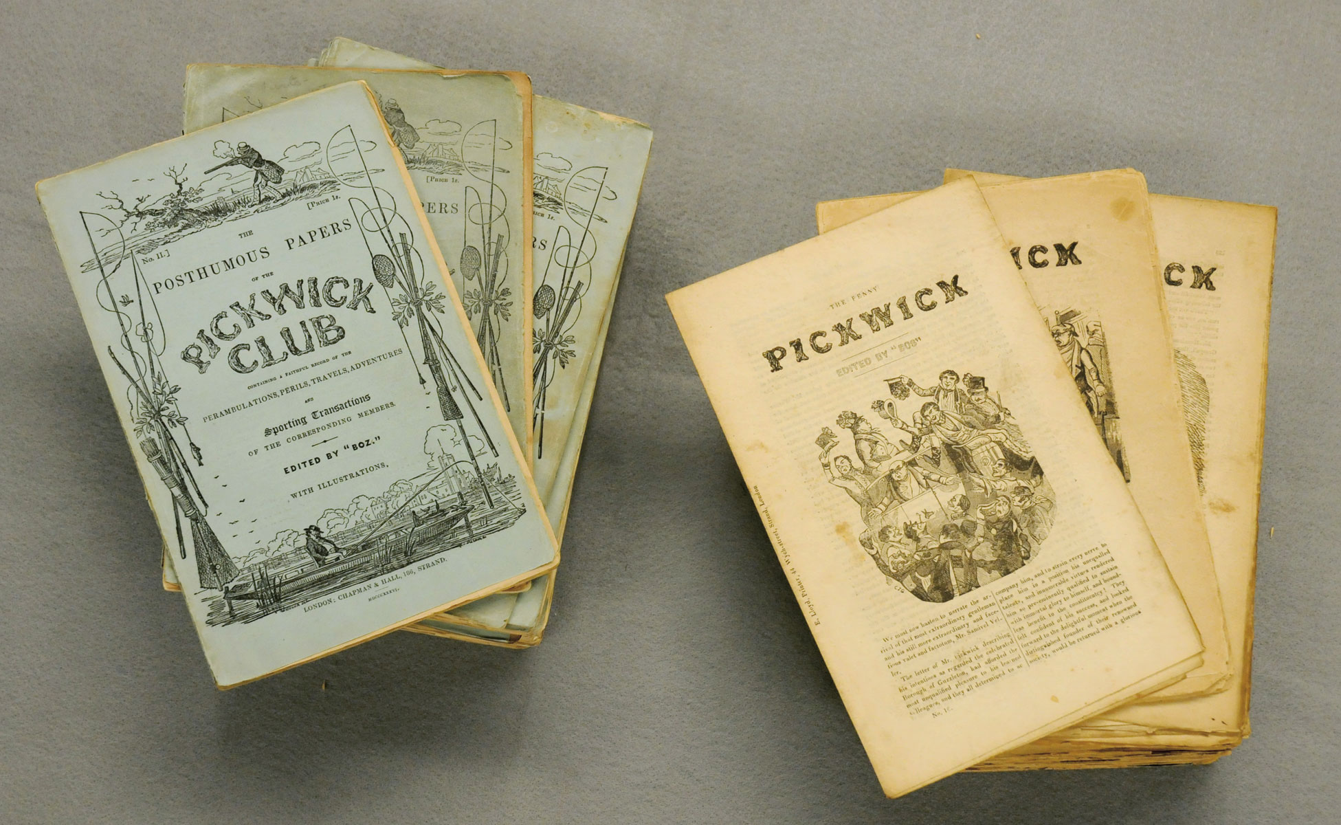 "The price of popularity: ""The Posthumous Papers of the Pickwick Club"" by Charles Dickens, left, inspired imitations such as Thomas Prest's knockoff ""Penny Pickwick."" [Credit: Mark Zupan]"