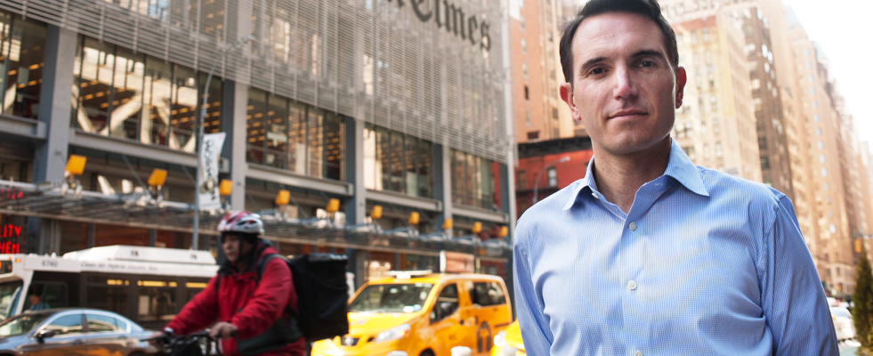 David Perpich in front of the New York Times headquarters in New York