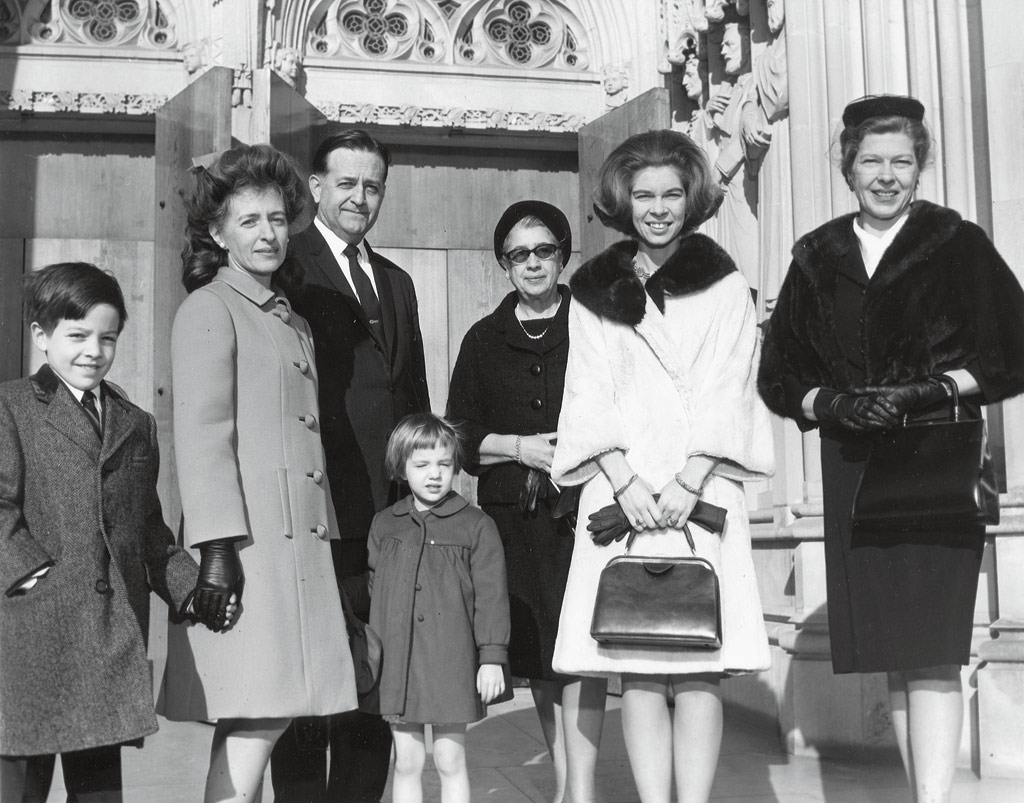 Regal: Princess Irene, second from right, in front of Duke Chapel with a Duke-Durham contingent that included Mary Semans, second from left. [Duke University Archives]