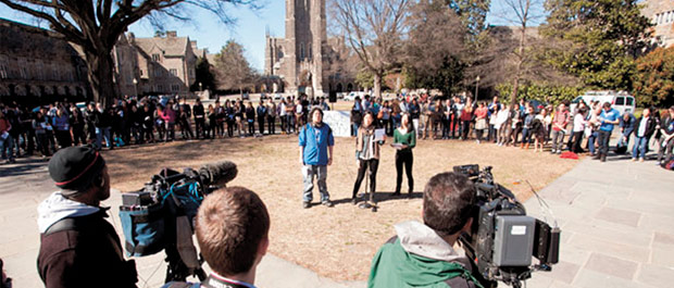 "Circle of concern: gathering to proclaim ""Race Is Not a Party"" (Credit: Megan Morr)"