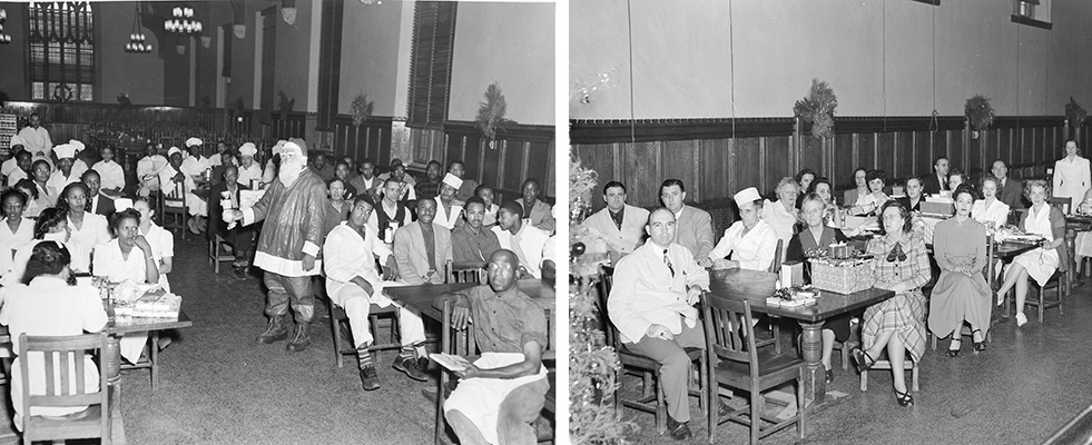 Black Duke employees and white Duke employees, segregated at 1946 holiday party