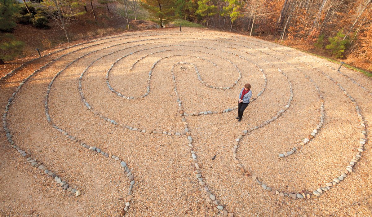 Walking meditation: Stone labyrinth at Duke Integrative Medicine (Credit: Jon Gardiner)