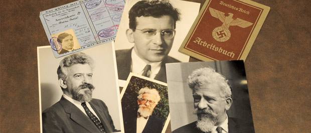 Life's work: Photographs and other items, including a 1935 Nazi-issued work permit, from the Abraham Joshua Heschel archive. [Credit: David M. Rubenstein Rare Book & Manuscript Library]