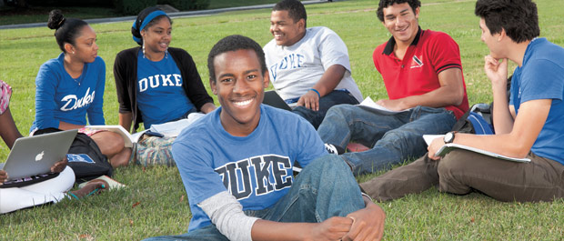 Right where he belongs: Duke undergraduate student Jamal Edwards with fellow first-year students on Duke's East Campus. Credit: Megan Moor