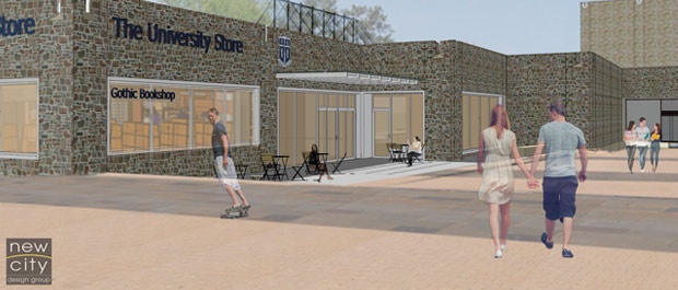 Image of the Plaza at the new Bryan Center