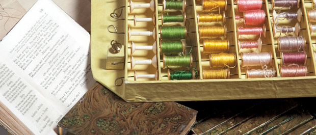 Storing a secret: Rare sewing kit hides a collection of German literary classics. [Credit: Les Todd]