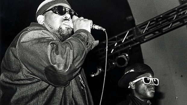 Pioneering spirit: Afrika Bambaataa, left, Bronx DJ credited as the godfather of hip-hop, on stage with rap artist Flavor Flav in 1990. © S.I.N. / Corbis