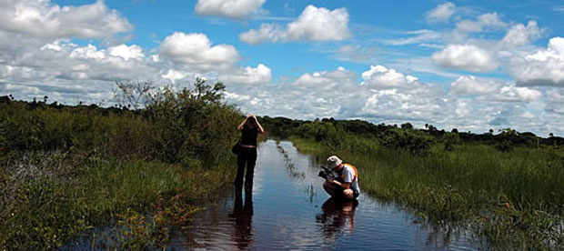 Profiling Pimm's team: Videographer Peter Jordan '01 films graduate student Mariana Vale on flooded road in Brazil