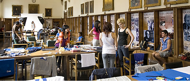 School's in: Rachel Weeks, far right in black shirt, during catalogue shoot in Gothic Reading Room. Michael Zirkle