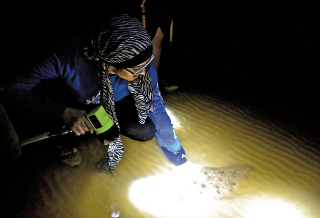 Student Summan Mirza pets the tail of a flounder on an earlier night hike at Beaufort. [Katie Vo]