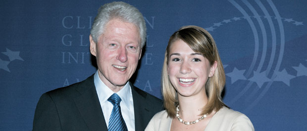 Christine Schindler with former President Bill Clinton. [Credit: Clinton Global Initiative]