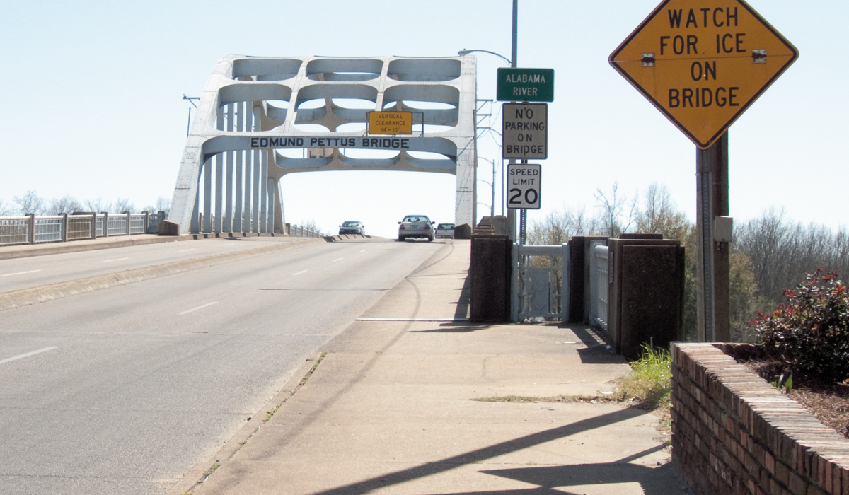 View of the Edmund Pettus bridge, Selma, Alabama. [All photo: Elissa Lerner]