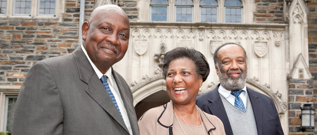 "Honored: Gene Kendall, Wilhelmina Reuben-Cooke, and Nathaniel ""Nat"" White, the three surviving members of the first five undergraduates to integrate Duke in 1963. [Credit: Les Todd]"