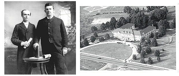 Namesake: James Southgate, right, with Trinity College President John Kilgo, top; aerial view of Southgate Hall, bottom. Duke University Archives