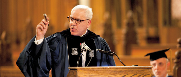 Lessons from Buck: Trustee David Rubenstien evoked the spirit of James B. Duke during the keynote address at the annual Founders' Day ceremony in Duke Chapel. Credit: Megan Moor
