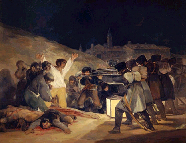 The Third of May, 1808: Francisco de Goya (1746-1828) depicted the battles between French soldiers and Spanish citizens during the bloody years of the Napoleonic occupation of Spain.  Erich Lessing /Art Resource, NY