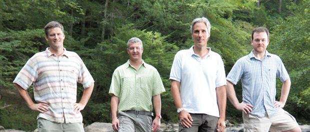 Going with the flow: Ecohydrologists Martin Doyle, Brian McGlynn, Marco Marani, and Jim Heffernan in the Eno River. Credit: Les Todd