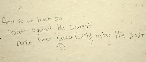 Scrawls of time: Graffiti uncovered during the library's renovations [Credit: Eric Ferreri]