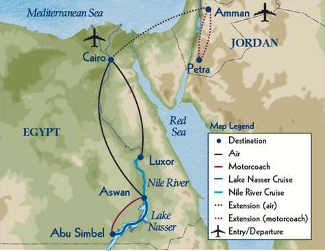 map showing route of mode of travel