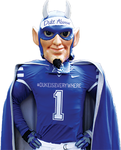 duke blue devil wearing #1 jersey and cape