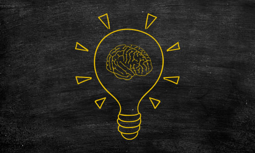 Forever Learning logo, yellow bulb with brain inside