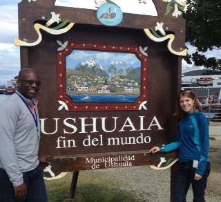 H. Vieux and Dr. Karla Fredricks '01 in downtown Ushuaia