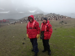 Dick and Katie Snowden on one of the Aitcho Islands in the South Shetland Islands